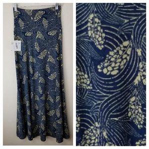 LuLaRoe Blue with Tan Leaf Designs Maxi Skirt XS
